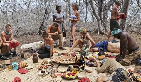 Survivor 2014 castaways celebrate Tribe Merge