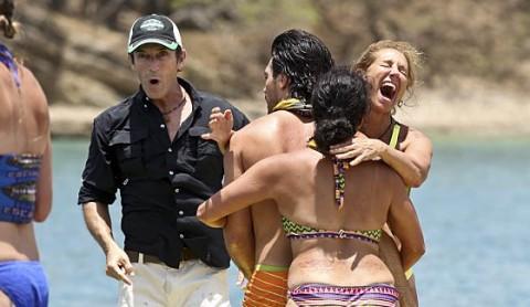 Survivor 2015 castaways celebrate a win