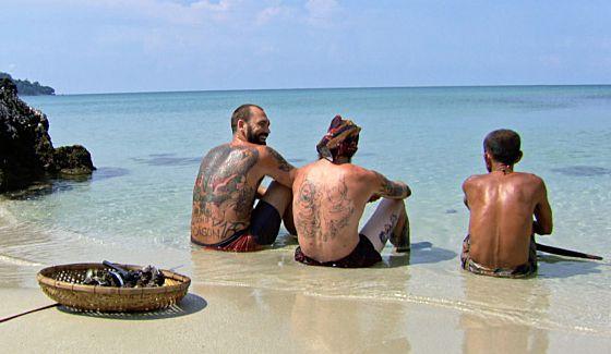 Survivor 2016's Three Amigos sitting on the beach