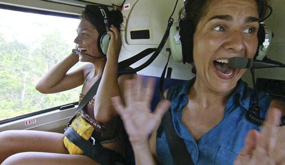 Michele and Aubry enjoy their reward flight to lunch